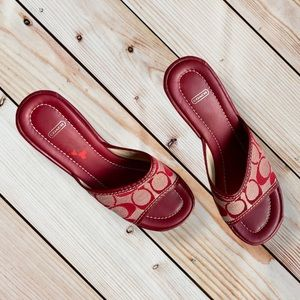 Authentic Coach Wedge Red Sandals